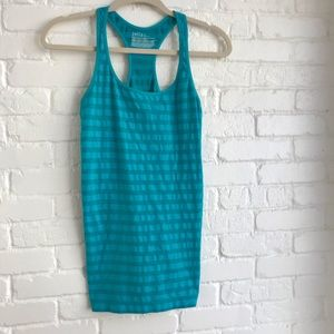 Zella like new Blue Striped Athletic tank top med